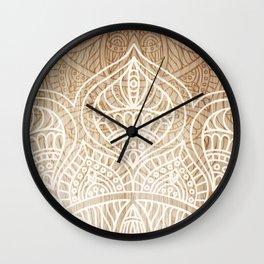 Wood + Mandala Pattern II Wall Clock