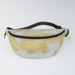 Marble - Yellow Gold Marble Foil on White Pattern Fanny Pack