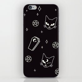 Cute Goth Kitties & Coffins iPhone Skin