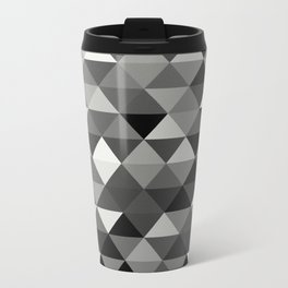 Black And White Triangles - Abstract, geometric, black and white pattern Travel Mug