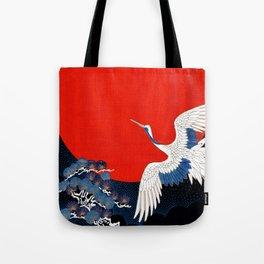 JAPANESE POP ICON- WHITE CRANE Tote Bag