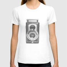 Vintage Camera X-LARGE Womens Fitted Tee White