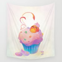 cupcake Wall Tapestries featuring Cupcake bath by pikaole