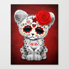 Red Day of the Dead Sugar Skull Snow Leopard Cub Canvas Print