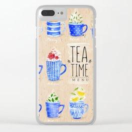 Tea Time Menu Clear iPhone Case