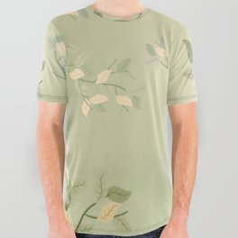 Sage Green Watercolor Woodland Leaves All Over Graphic Tee