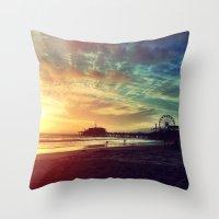 santa monica Throw Pillows featuring Santa Monica Sunset by Michali's Studio