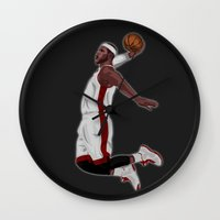 lebron Wall Clocks featuring Lebron James by siddick49