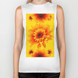 Golden Yellow Abstracted Red Sunflower Patterns Biker Tank
