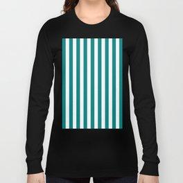 Vertical Stripes (Teal/White) Long Sleeve T-shirt