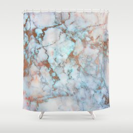 Rose Marble with Rose Gold Veins and Blue-Green Tones Shower Curtain