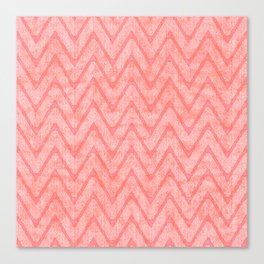 Peach Pink Imitation Velvet Zigzag Pattern Canvas Print