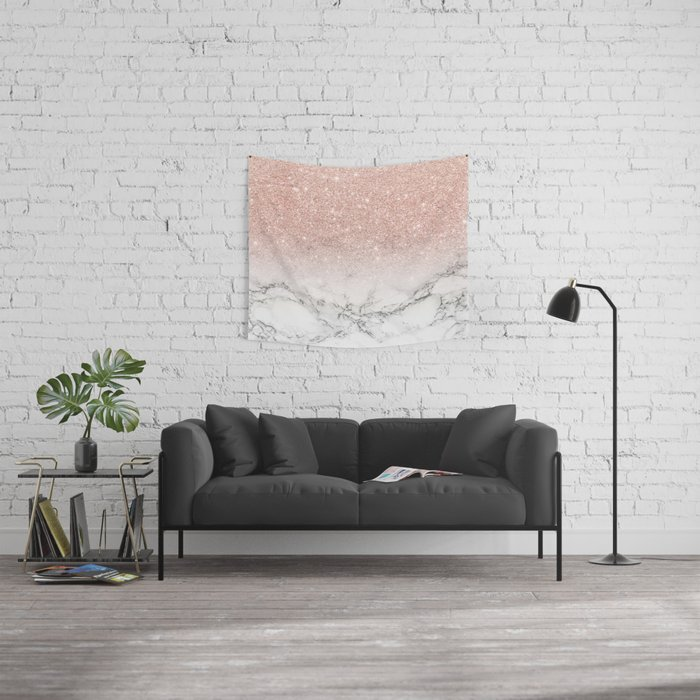 Modern faux rose gold pink glitter ombre white marble Wall Tapestry