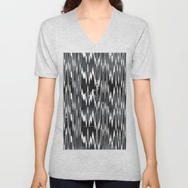 Monochrome Marble Chevron Waves Unisex V-Neck