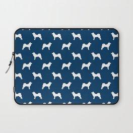 Akita silhouette dog breed pattern minimal dog art navy and white akitas Laptop Sleeve
