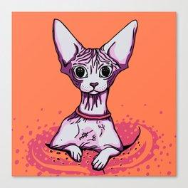 Sphynx Cat - Orange Background Canvas Print