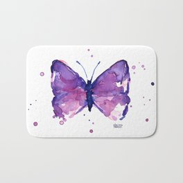 Butterfly Purple Watercolor Animal Bath Mat
