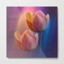 Towards the light, mixed media art with Tulips Metal Print