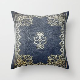Gilded Gold and Blue Book Throw Pillow