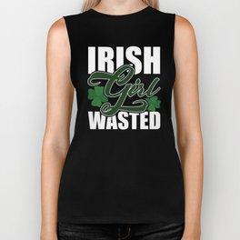 Irish Girl Wasted Funny St. Patrick's Day T-Shirt Biker Tank