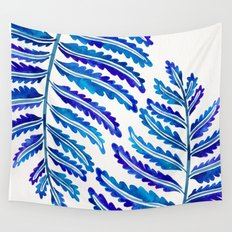 Fern Leaf – Navy Palette Wall Tapestry