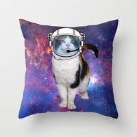space cat Throw Pillows featuring Space cat by S.Levis