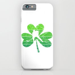 Kiss Me I Play Hockey Shamrock St. Patrick's Gift iPhone Case