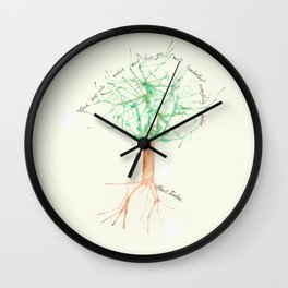Organic Watercolor Tree with Einstein Quote Wall Clock
