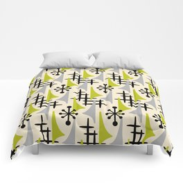 Mid Century Modern Atomic Wing Composition Green & Grey Comforters