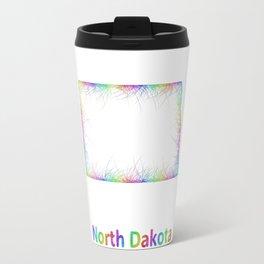 Rainbow North Dakota map Travel Mug