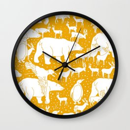 Polar gathering (orange juice) Wall Clock
