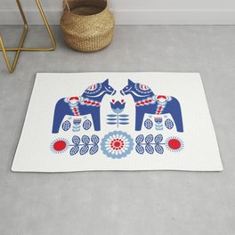 Blue Swedish Dalahäst Rug