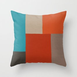 Colorful Patchwork Red Orange Turquoise Beige Throw Pillow