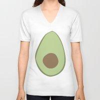 avocado V-neck T-shirts featuring Avocado by LEIGH ANNE BRADER
