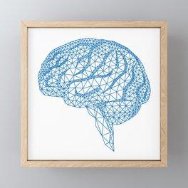 blue human brain Framed Mini Art Print