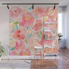 Preppy Pink Peonies Wall Mural