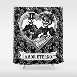 Amor Eterno | Eternal Love | Calavera Couple | Black and White | Shower Curtain