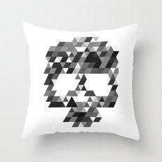 Skull bw w Throw Pillow
