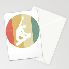 Retro graphic Snowboarding Snowboarder Slopestyle Stationery Cards