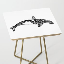 Orca - Hand drawn black and white Side Table