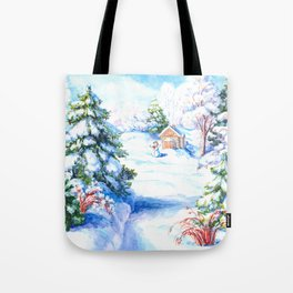 Sunny winter day Christmas tree holiday snowman fairy tale Tote Bag