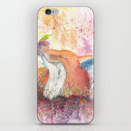Watercolor Fox in the Forest iPhone Skin