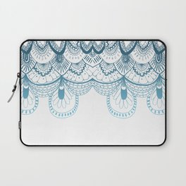 Art Deco Lace Zentangle Design in Blue Laptop Sleeve