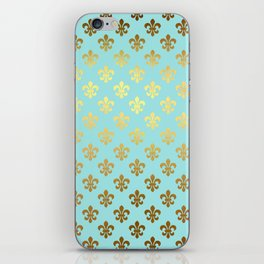 Royal gold ornaments on aqua turquoise background iPhone Skin