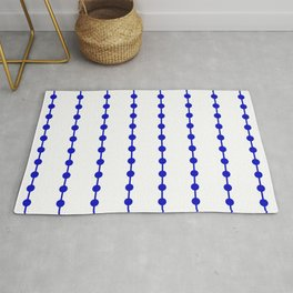 Geometric Droplets Pattern Linked - Navy Blue on White Rug