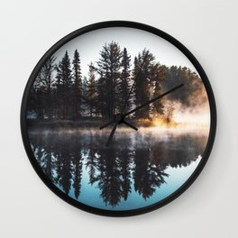 Misty Lake Pine Island Wall Clock