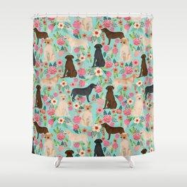 Labrador Retriever Dog Breed Floral Pattern For Dog Lover Chocolate Lab  Golden Retriever Labradors Shower Curtain