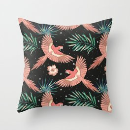 Pink macaw parrots on the starry night sky Throw Pillow