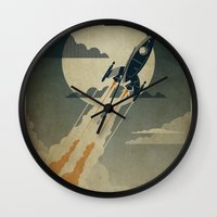 rocket Wall Clocks featuring Night Launch by Danny Haas