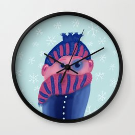 Freezing Kid In Winter Wall Clock